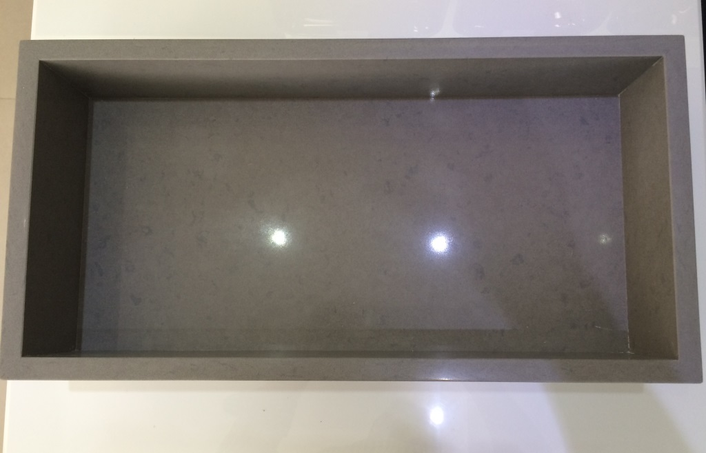 Nicho Silestone Cinza  Pedras Veneza  Nicho Silestone Cinza -> Nicho Banheiro Silestone